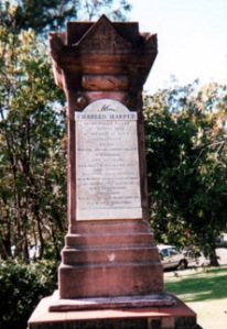 """This memorial was unvieled on the occasion of the centenary of Helensburgh on 7th October 1984, having been moved from St. Augustine's churchyard Bulli, where it was erected in August 1889. Mr Charles Harper searched for and found coal at Camp Creek in 1883 and was instrumental in naming the settlement ""Helensburgh"". The park was named in his honour on the same day."""