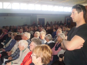 Allan Atkins, co convenor of the Save Bulli ED Group at a recent protest meeting over down grading services at Bulli.