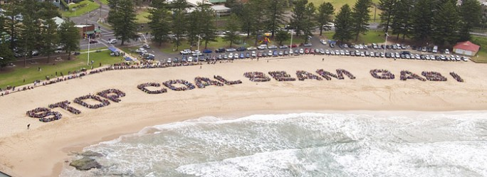 The Stop Coal Seam Gas human sign at Austinmer in 2011.