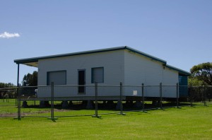 The purpose built cafe building was dropped at Corrimal Beach Tourist Park last week.