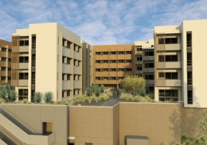 Artists impression of the new Kooloonong residential apartments at Wollongong University.