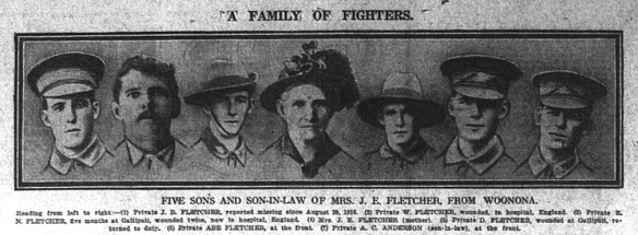 from the Daily Telegraph 30 March 1917, Mrs J.E. Fletcher of Woonona and her five sons and son-in-law