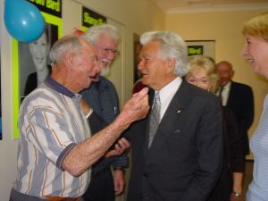 Thirroul Labor Party branch life member Keith Woodward meeting former Prime Minister Bob Hawke. Mr Hawke is coming back to Bulli on Saturday to help celebrate Thirroul branch centenary. PHOTO: Alison Byrnes.