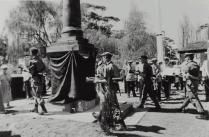 The rededication of the Bulli War Memorial at Slacky Flat in 1989.