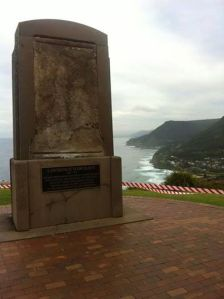 The vandalised Lawrence Hargrave monument at Stanwell Tops.