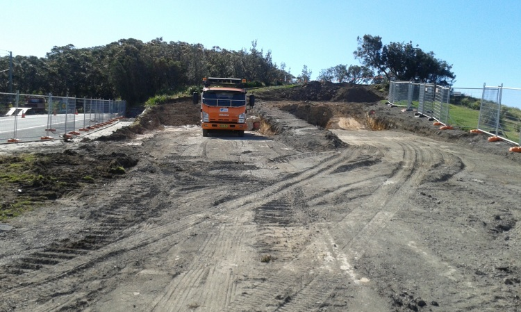 Earth works have begun where the old toilet block once stood on Bald Hill