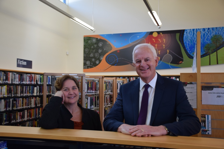 Wollongong Council's Library Manager, Jenny Thompson, with Wollongong Deputy Lord Mayor Chris Connor at Thirroul Library.