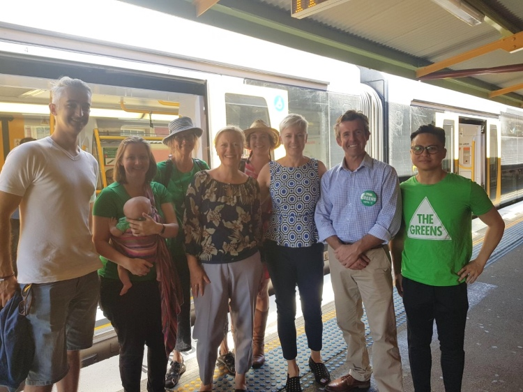 Cate Faehrmann with Greens candidates in the Illawarra at Wollongong station