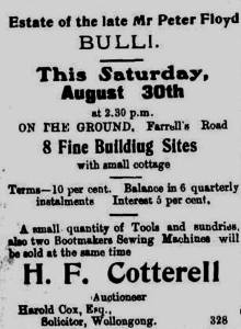 A South Coast Times advertisement for Floyd's Estate at Bulli Beach in 1913