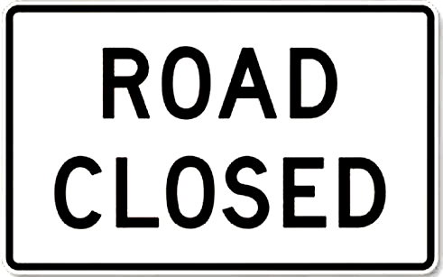 road closed sign white