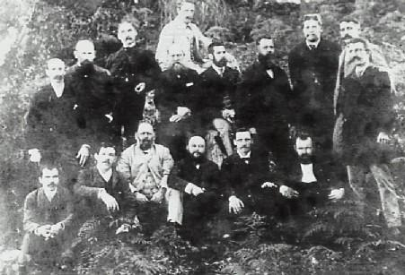 """Nicholson (third from left top row) was also a director of the first Bulli Hospital Board in 1892. Also pictured are A S Artis (Sitting bottom row third from left) whose formal objection to a shortage of ballot papers at Bulli, caused by an """"error of judgement"""" by returning officer Henry Fry (sitting top row 4th from left) caused a by-election in 1891."""