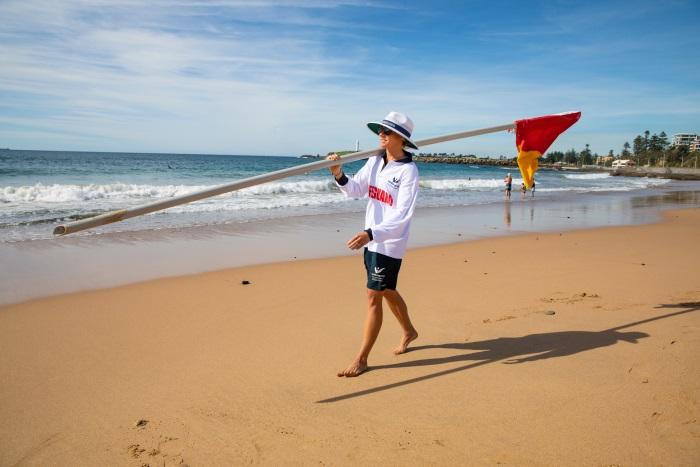 flags beach surf