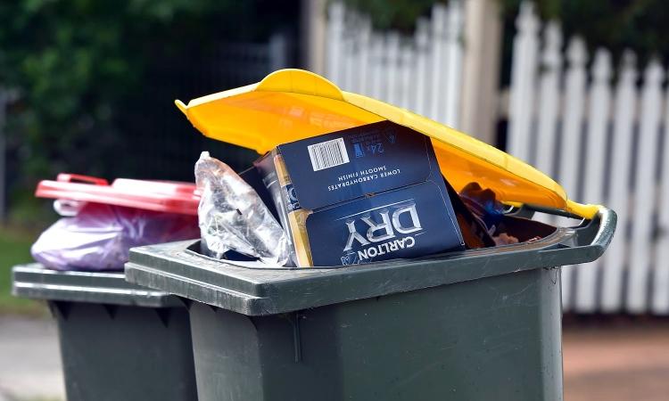 recycling yellow top bin front