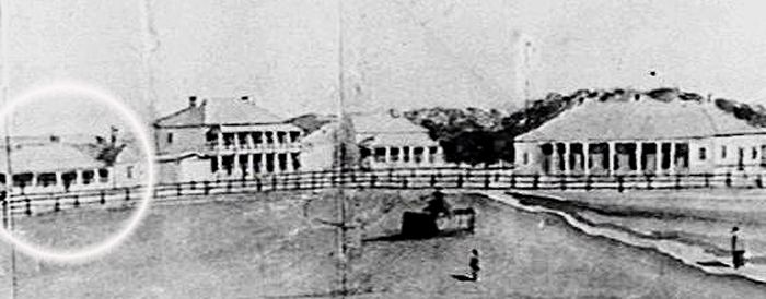 Market Square Wollongong, showing the Governor Bourke Hotel (far left, circled), the two storey Queens Hotel, and, far right, The Wollongong Hotel, in the early 1850s